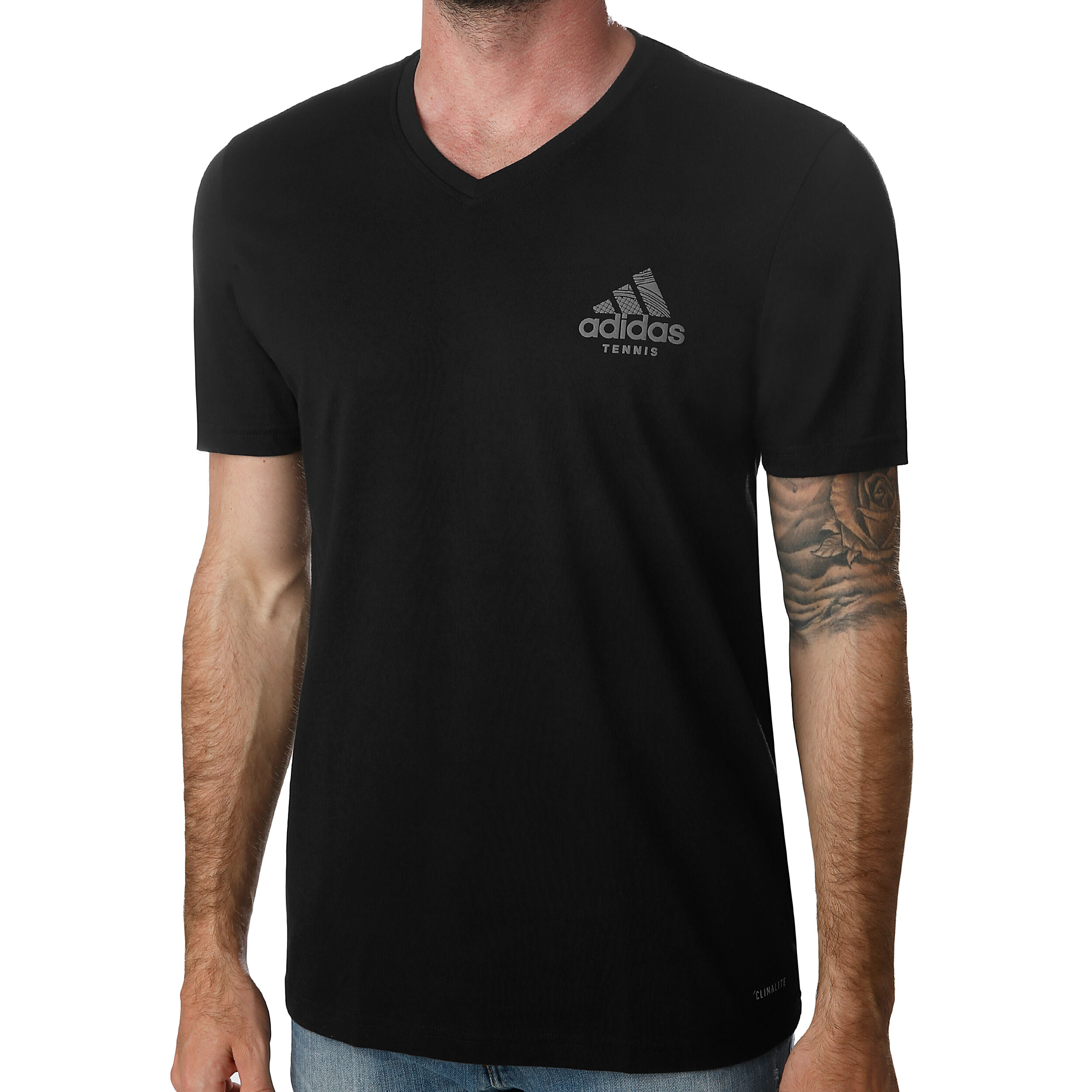 buy adidas V-Neck Graphic T-Shirt Men - Black, Silver online ...